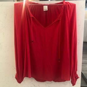 Ella Moss Red Long Sleeve Blouse